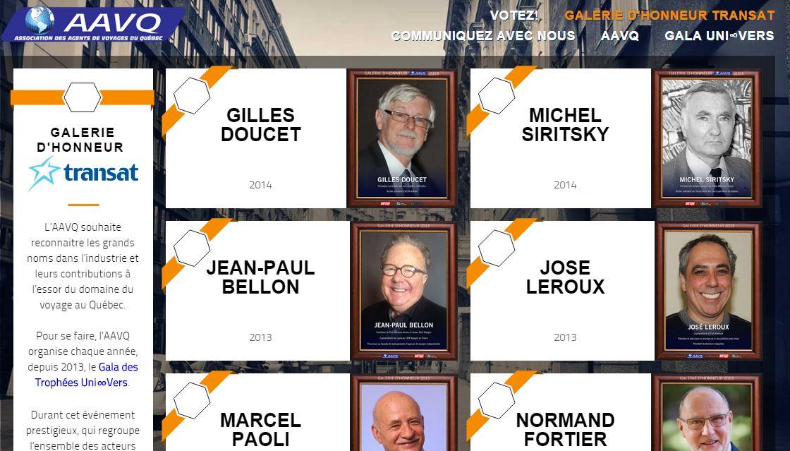 Site web de l'AAVQ pour les votes du Gala Univers 2015