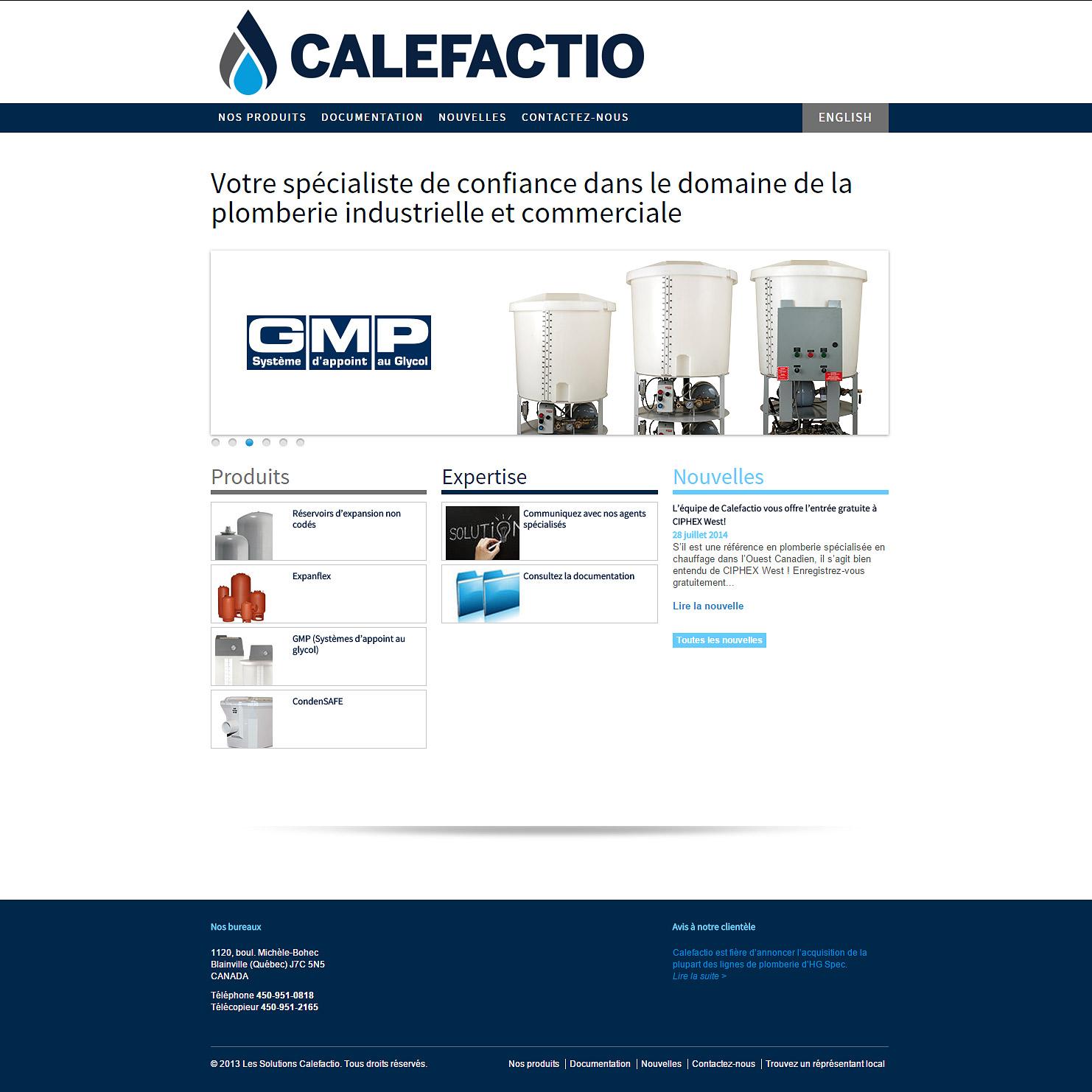 Site web de Calefactio, transféré de Drupal vers Expression Engine