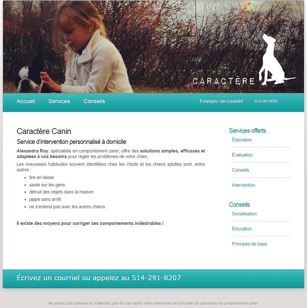Page d'accueil du site web de Caractère Canin