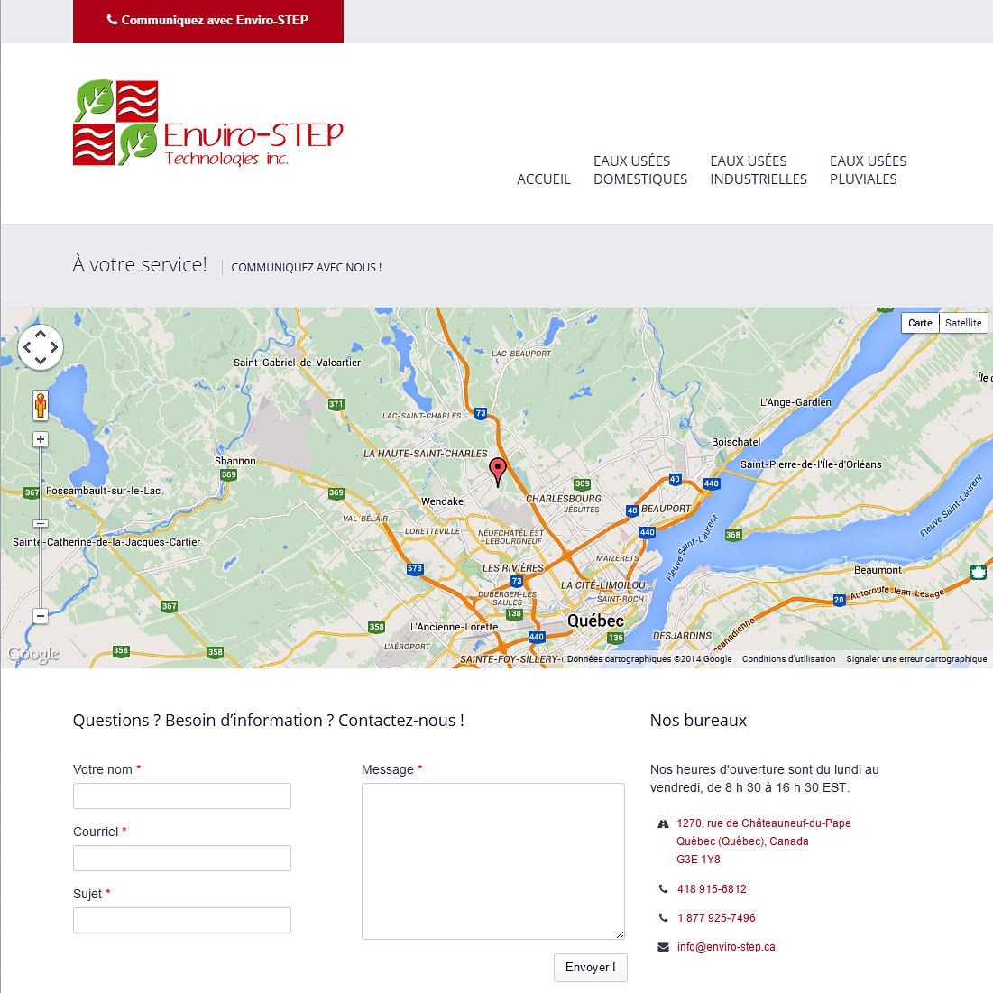 Page d'accueil avec gammes de produits et bloc blogue / nouvelles