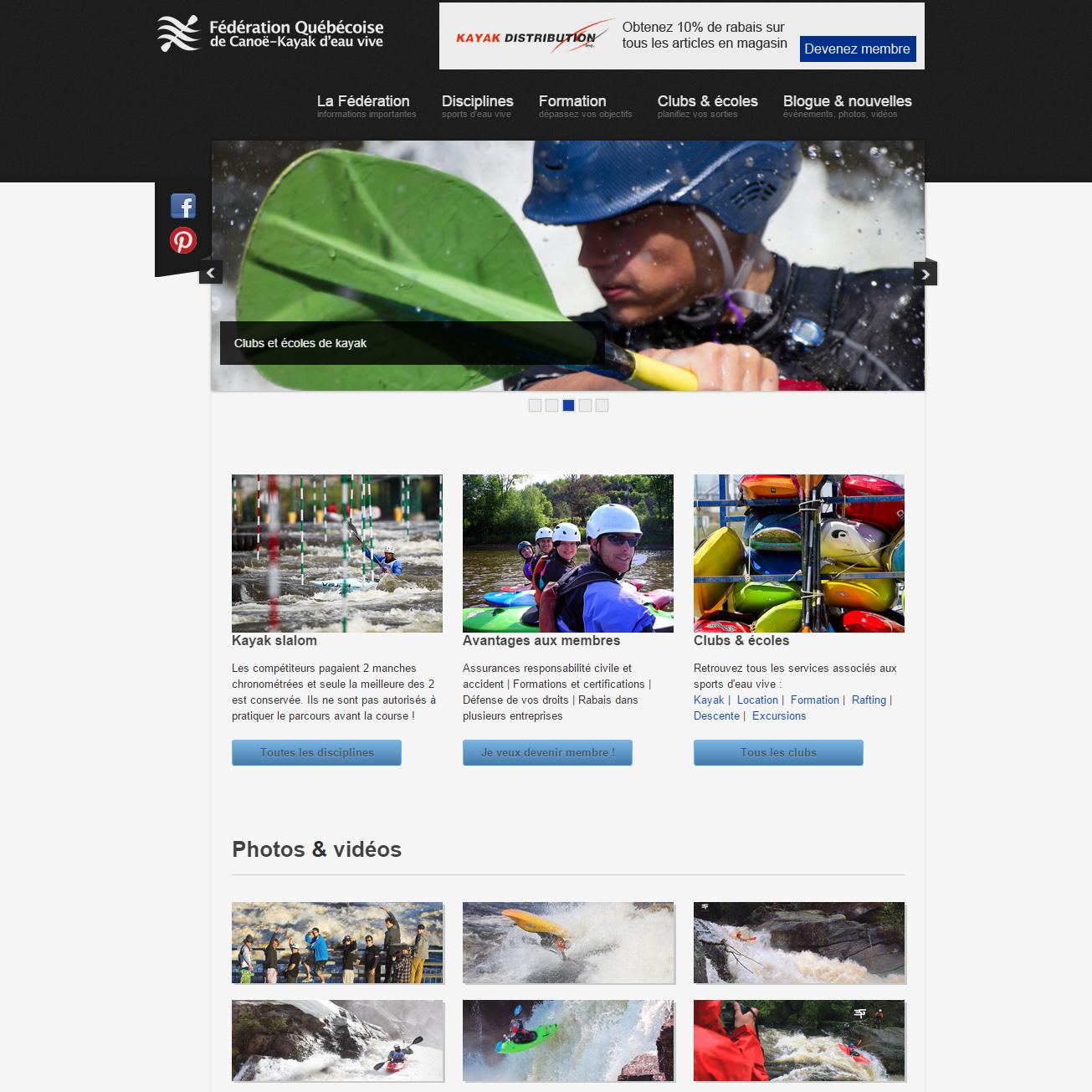 Site web de la Fédération québécoise d'eau vive, par François Gélinas