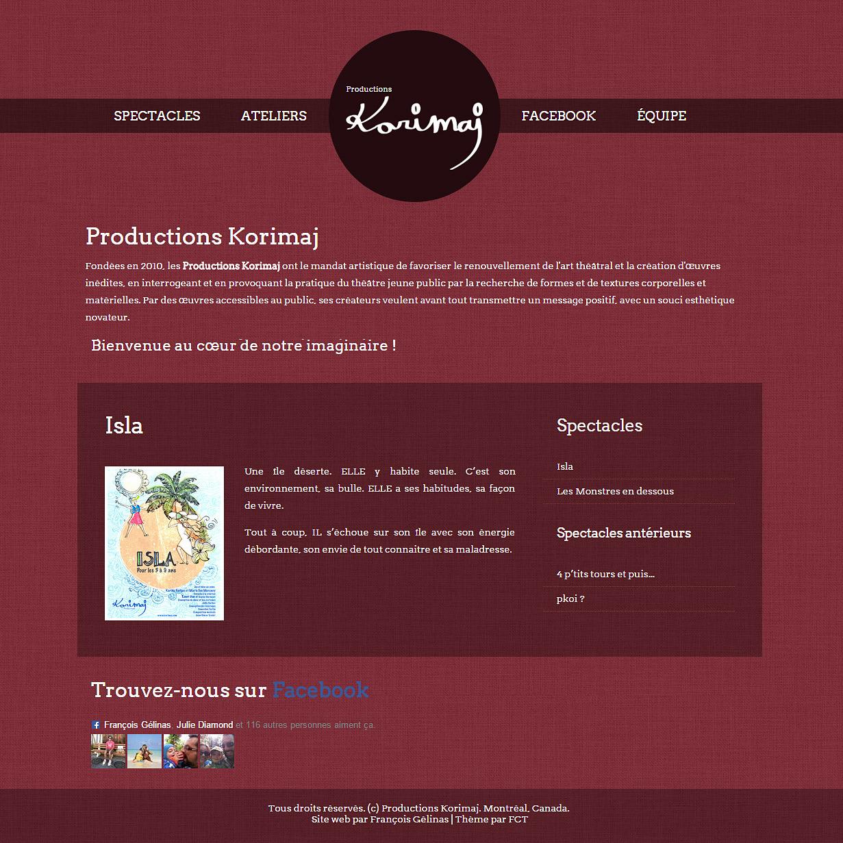 Site web de Korimaj, productions de pièces de théâtre